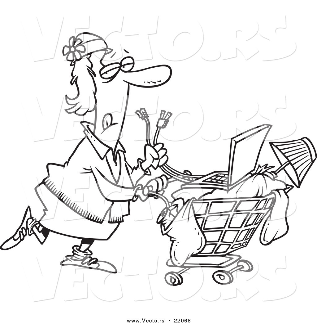 1024x1044 Vector Of A Cartoon Homeless Woman Pushing A Laptop On Her Cart