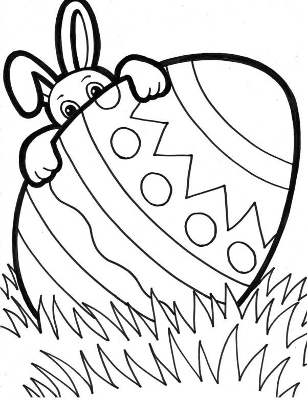600x785 Easter Bunny Hiding Behind Giant Easter Egg Coloring Page Batch
