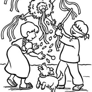 300x300 Christmas Pinata Coloring Pages