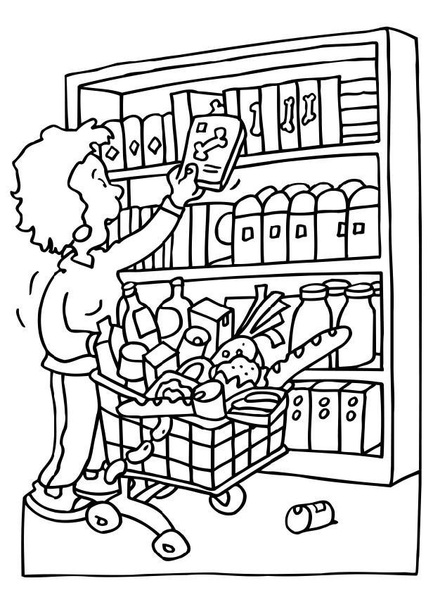 616x872 Coloring Page Shopping