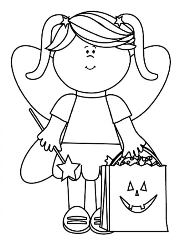575x752 Little Halloween Fairy With Trick Or Throw Bag Coloring Page