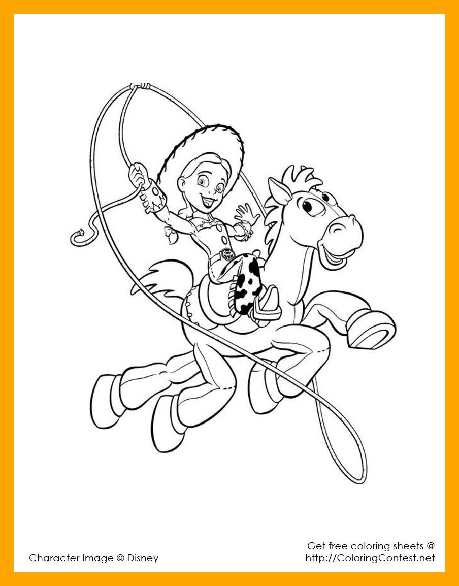 904x1154 Best Jessie Lasso Kids U Coloring Pages Picture Of Disney Toy