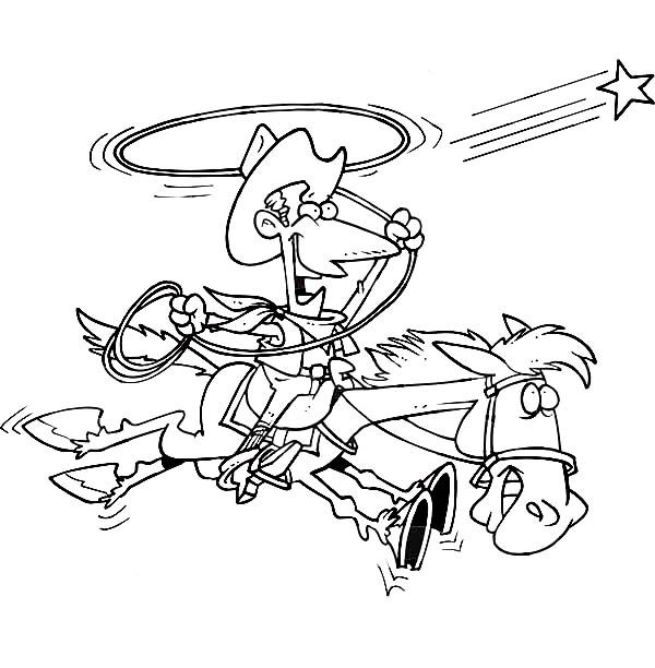 600x612 Cowboy, Cowboy Trying To Catch A Star With Lasso Coloring Page