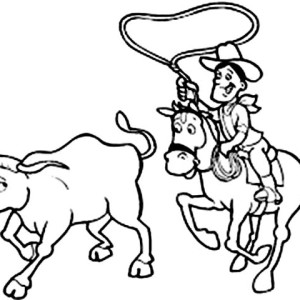 300x300 Cowboy Spinning Lasso Wide Coloring Page Cowboy Spinning Lasso