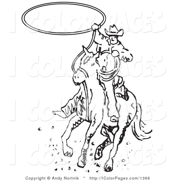 600x620 Vector Coloring Page Of A Black And White Roper Cowboy On A Horse
