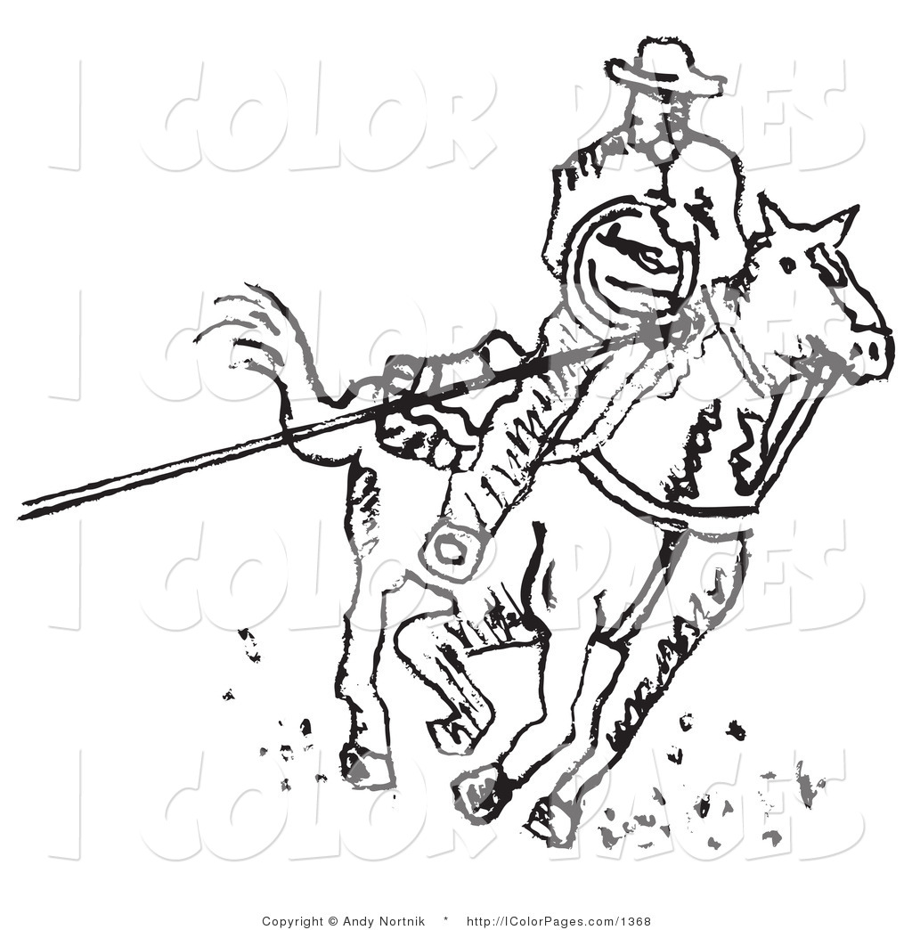 1024x1044 Vector Coloring Page Of Roper Cowboy Man On Horse, Using