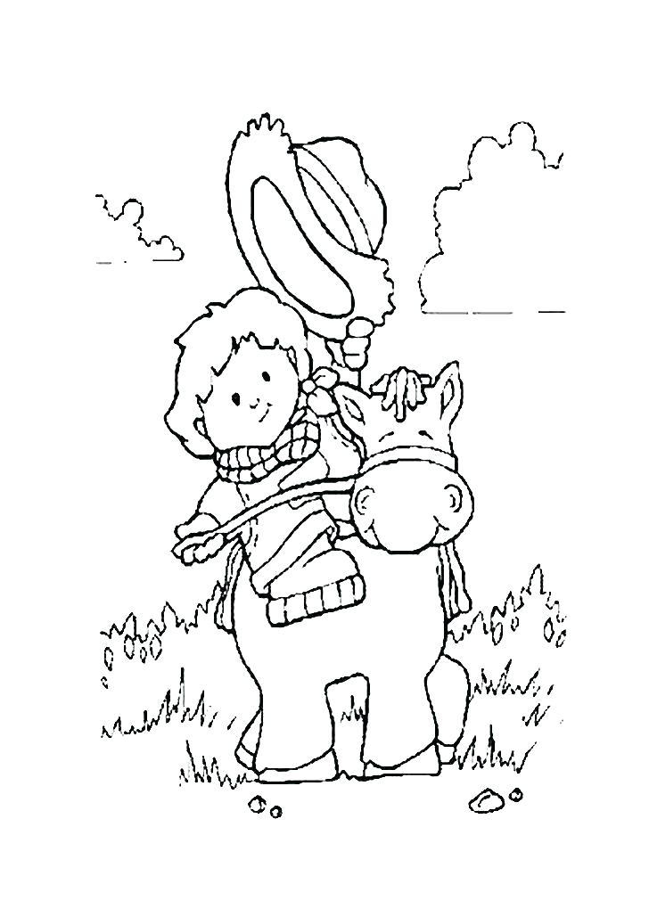 728x1020 Vector Of A Cartoon Lasso Cowboy Coloring Page Outline Coloring