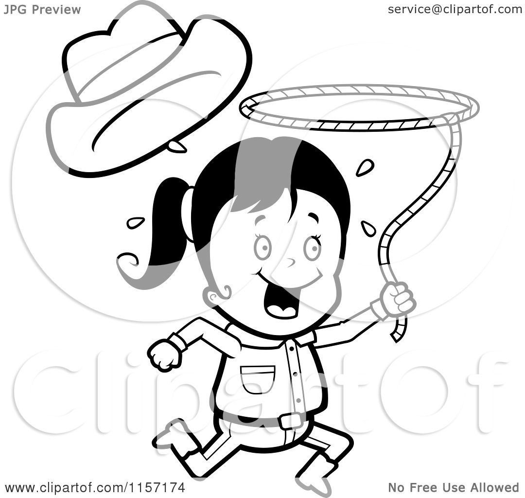 1080x1024 Cartoon Clipart Of A Black White Happy Cowgirl Running
