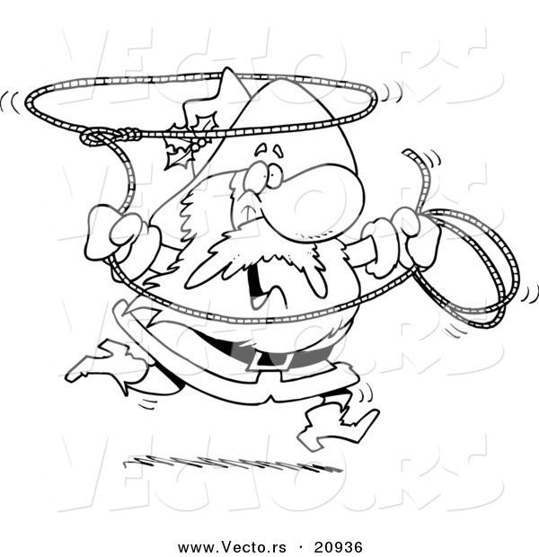 600x620 Vector Of A Cartoon Cowboy Santa Swinging A Lasso
