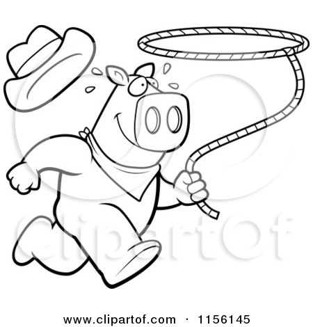 450x470 Cartoon Clipart Of Blacknd White Rodeo Pig Running
