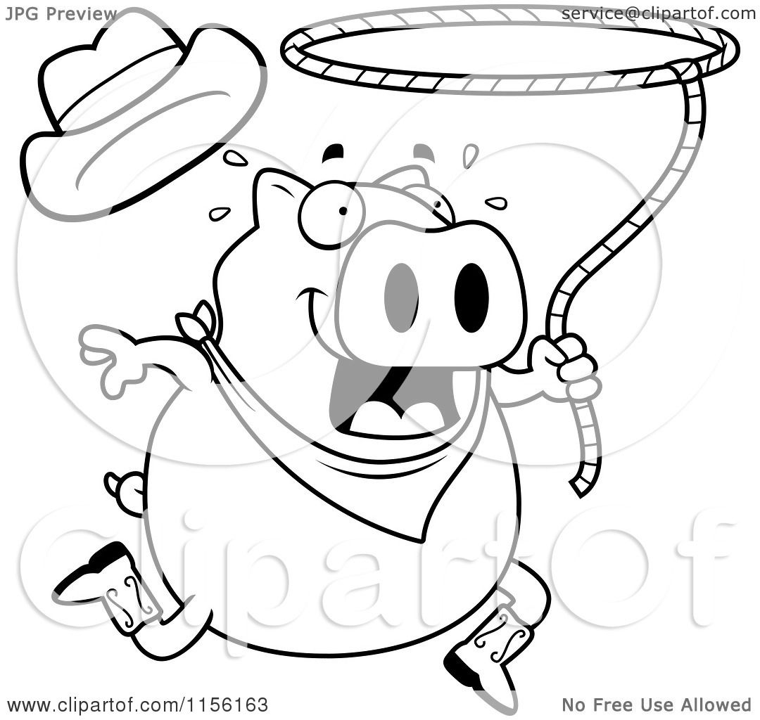 1080x1024 Cartoon Clipart Of A Black And White Rodeo Pig Swinging A Lasso