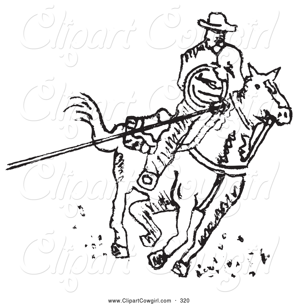1024x1044 Clipart Of Coloring Page Of Roper Cowboy On Horse, Using