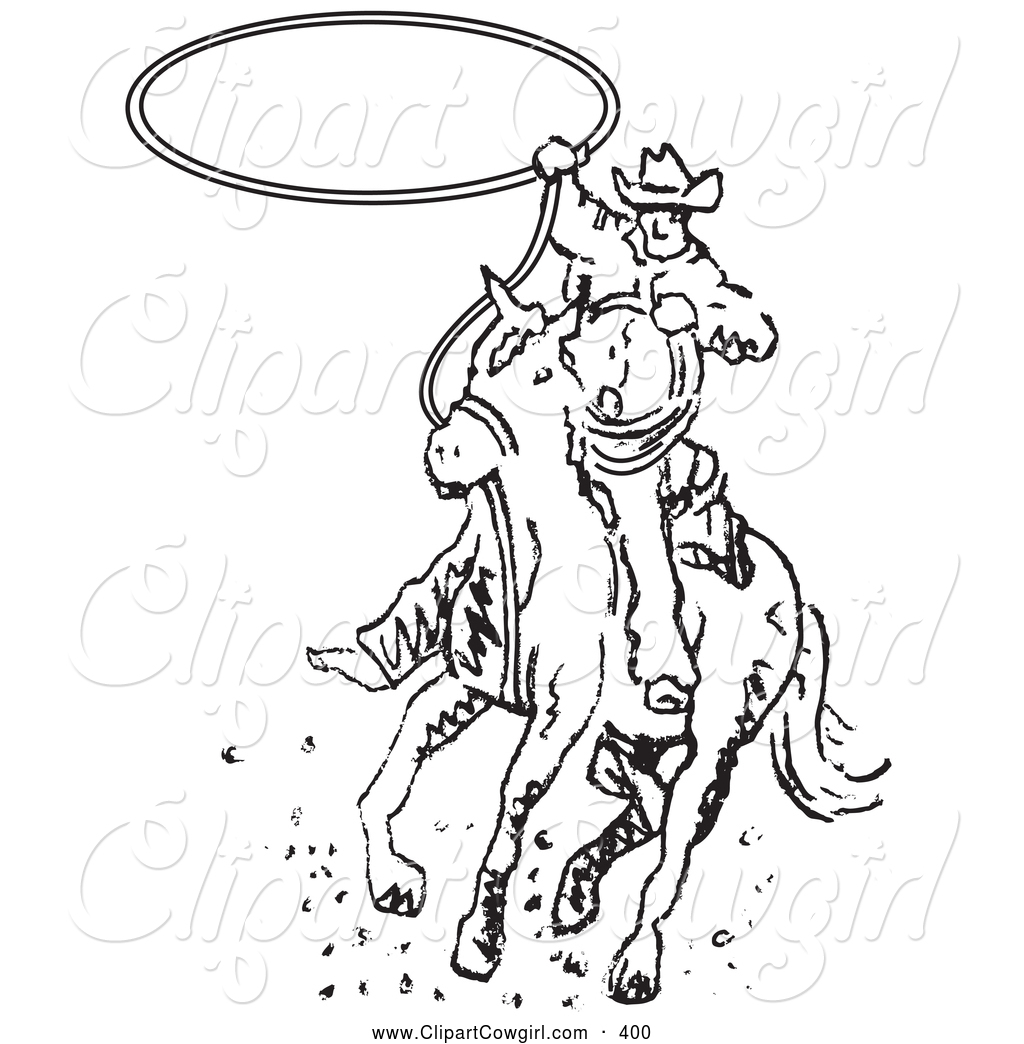 1024x1044 Clipart Of Coloring Page Of Roper Cowboy On Horse Swinging