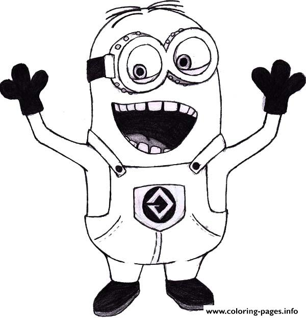 600x622 Mark The Minion Is Laughing Coloring Pages Printable