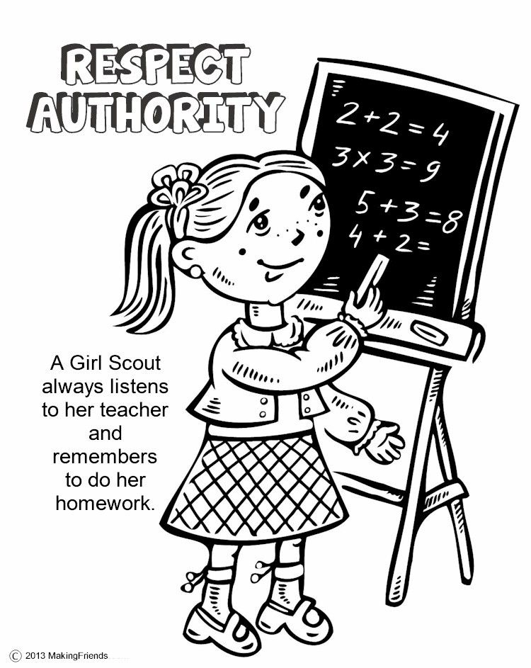 750x943 The Law, Respect Authority Coloring Page Girl Scout Law