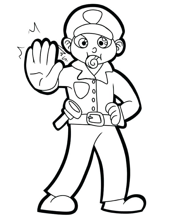 600x765 Police Hat Coloring Page Fireman And Policeman Coloring Pages