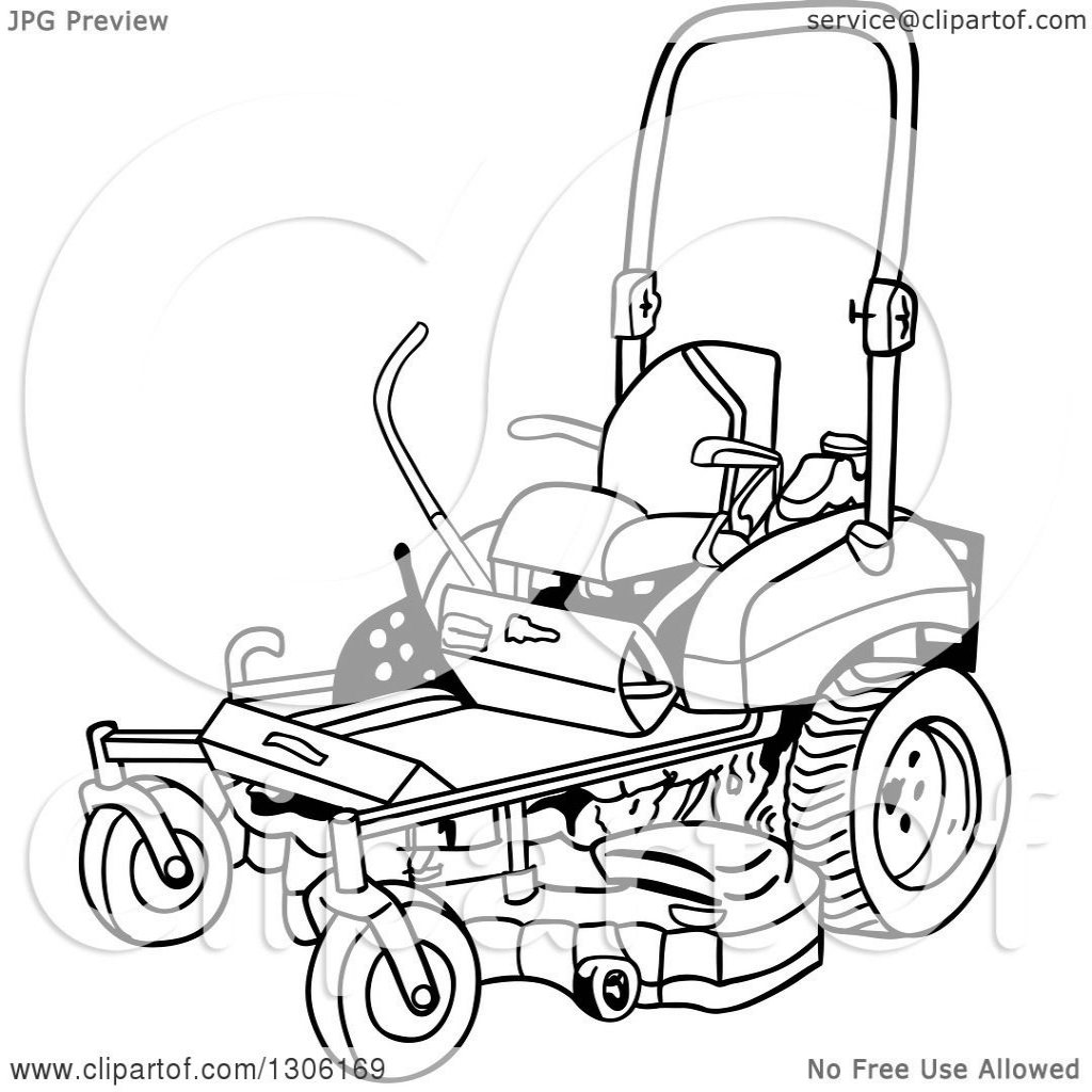 1024x1024 Clipart Of A Cartoon Black And White Ride On Lawn Mower Royalty