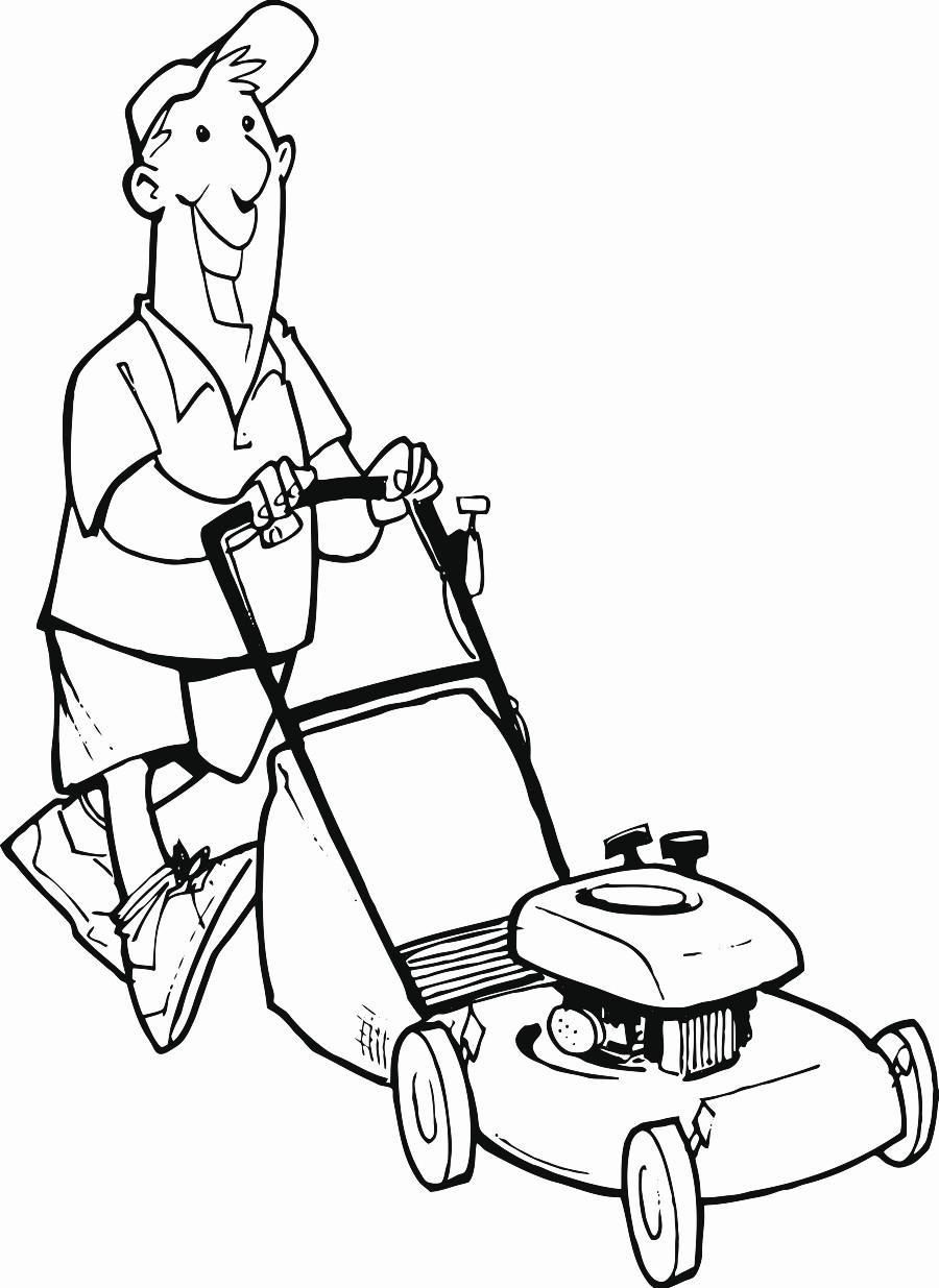 900x1235 Man Lawn Mower Printable Image Illustration Sketch For Man Lawn