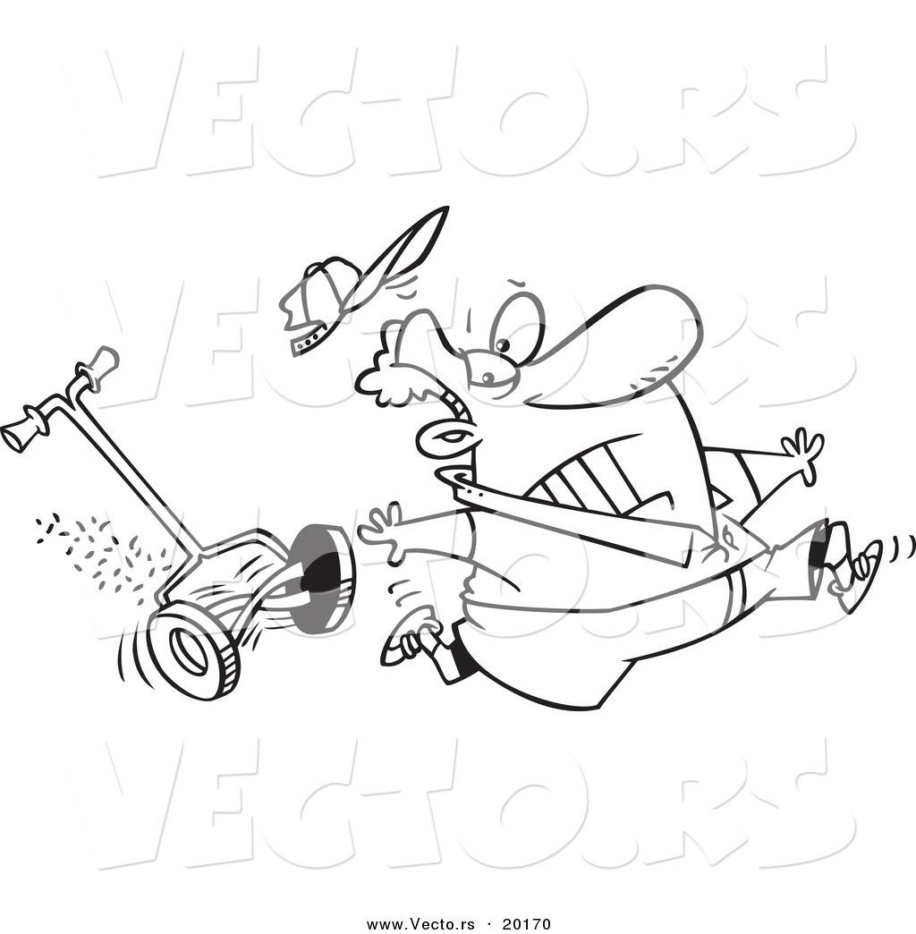 1024x1044 Vector Of A Cartoon Man Running From A Lawn Mower
