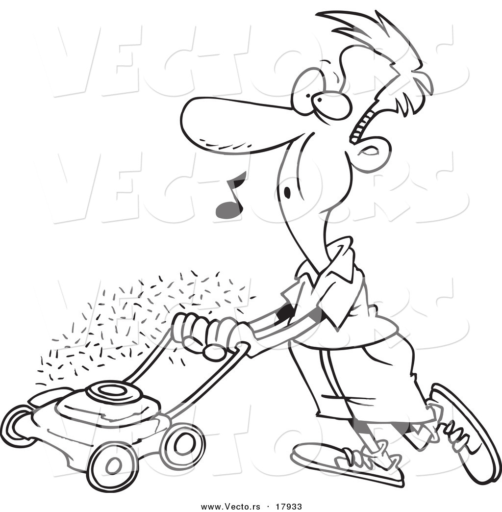 1024x1044 Vector Of A Cartoon Man Whistling And Mowing His Lawn