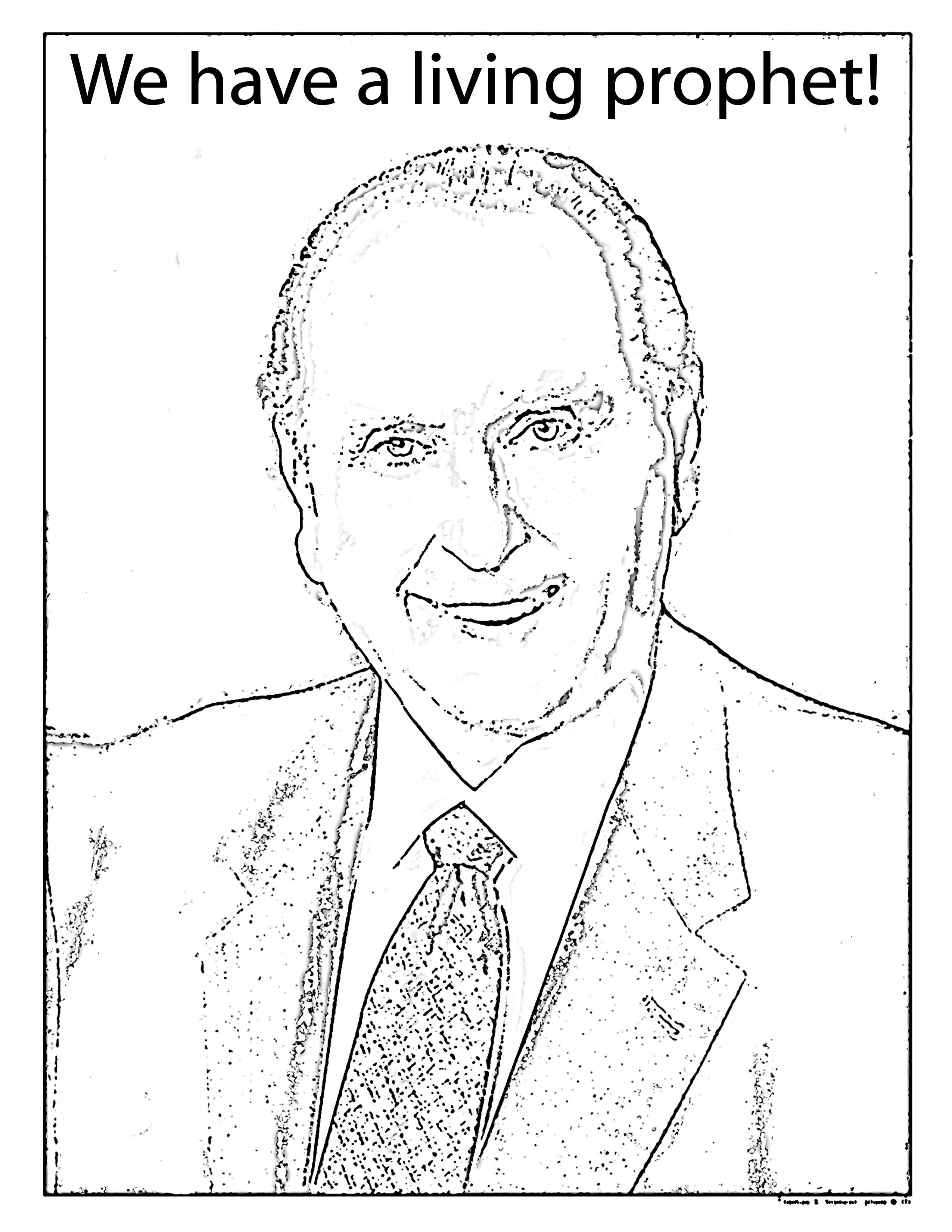 2550x3300 Mormon Share } President Monson Coloring Sheet