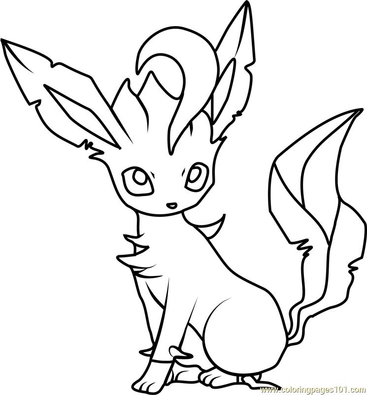 745x800 Leafeon Pokemon Coloring Page