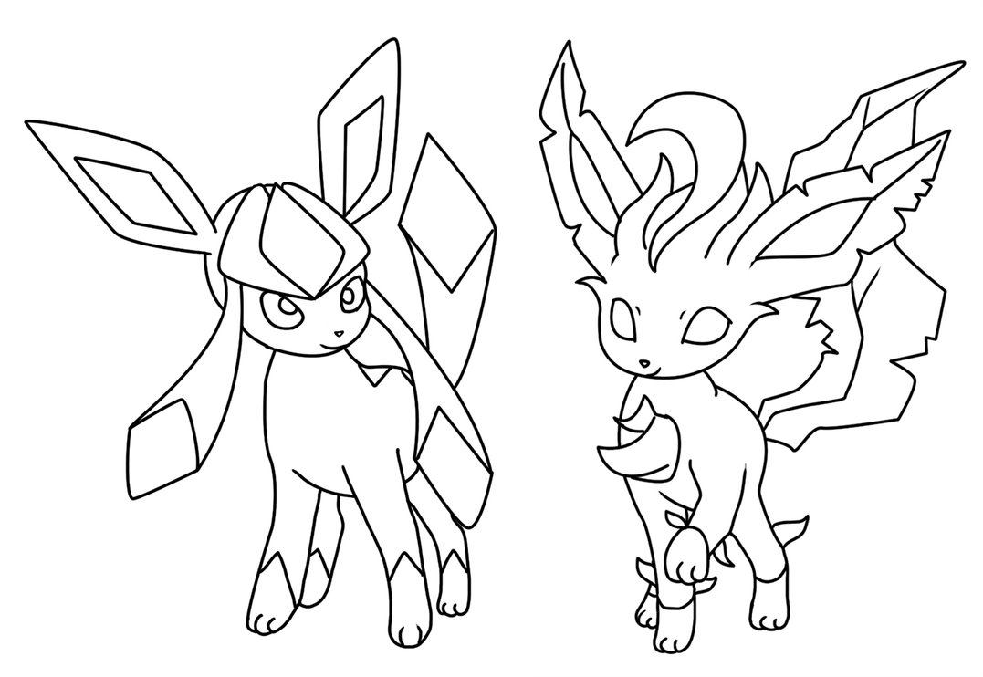 1077x742 Glaceon And Leafeon Coloring Page
