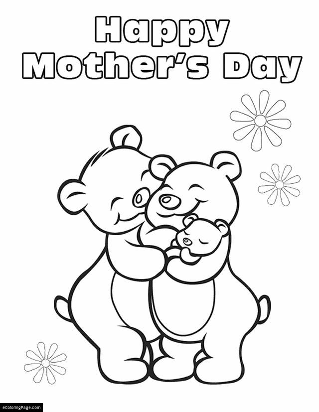 640x827 Happy Mothers Day Family Of Bears Printable Coloring Page School