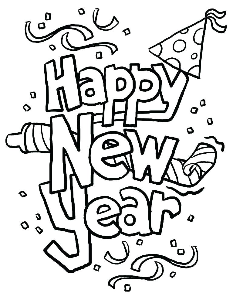 768x988 Happy New Year Coloring Sheets Printable Coloring Printable New