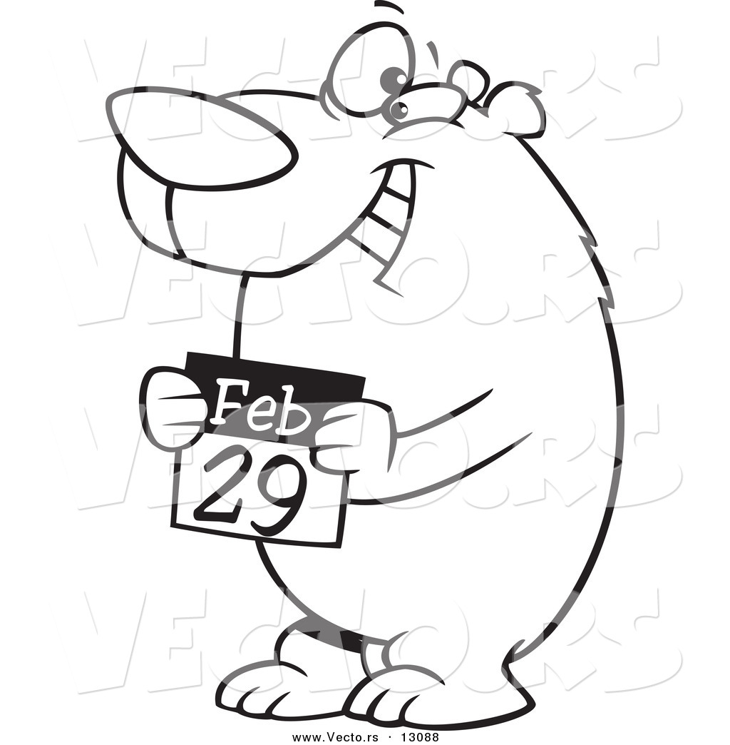1024x1044 Vector Of A Cartoon Black And White Outline Leap Day Bear Holding