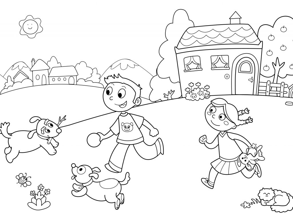 1024x768 Free Printable Kindergarten Coloring Pages For Worksheets Kids