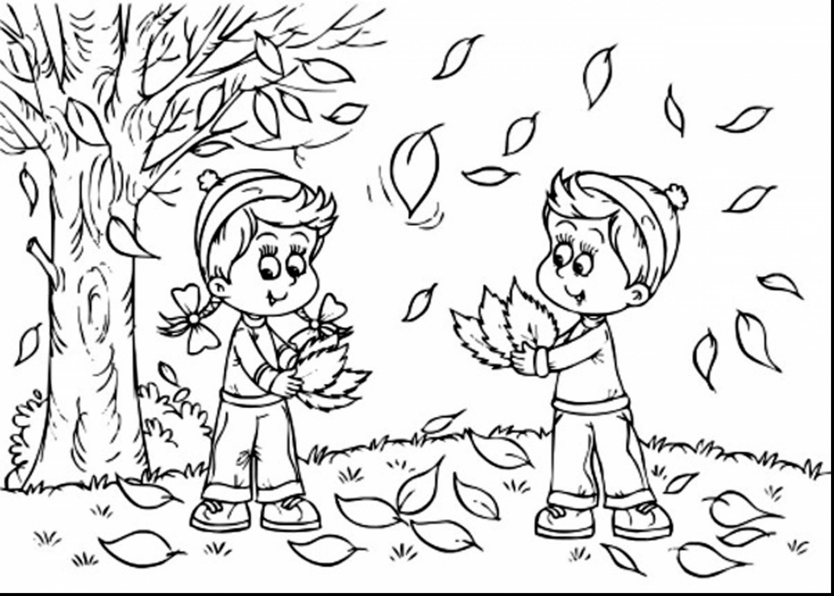2805x2005 Fall Leaves Coloring Pages Printable And Leaf