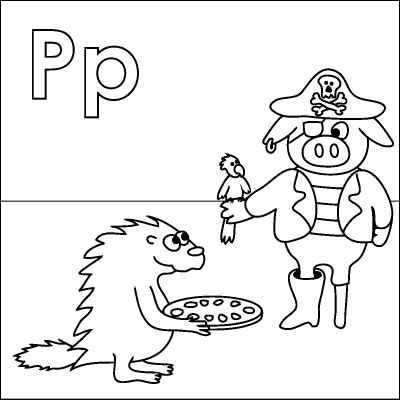 400x400 Letter P Coloring Page