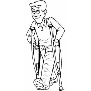 300x300 Man With Broken Leg Coloring Page