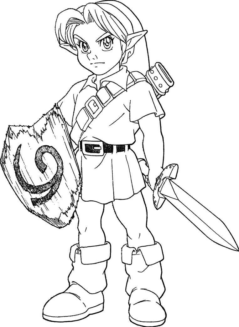 Legend Of Zelda Link Coloring Pages At Getdrawings Com Free For