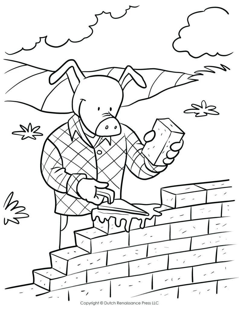 791x1024 Brick Coloring Page Pages Printable Lego Pattern House In Red