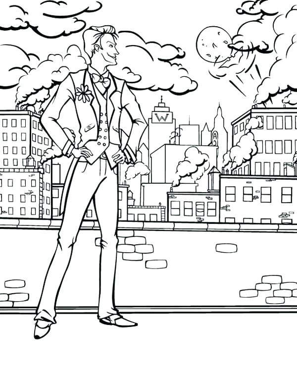 600x767 Lego City Coloring Page City Coloring Page Joker Watching City
