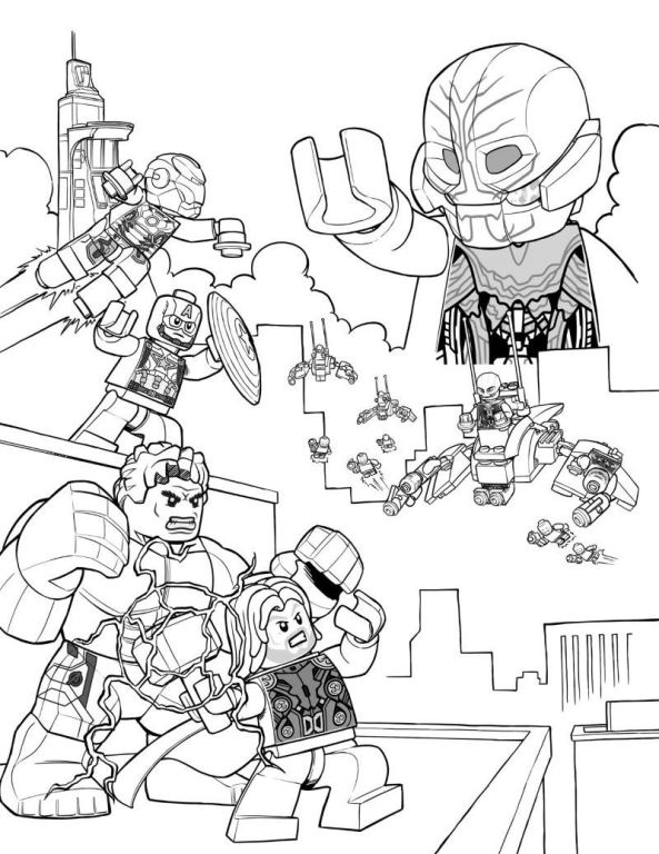 593x768 Kids N Fun Com Coloring Pages Of Lego Marvel Avengers