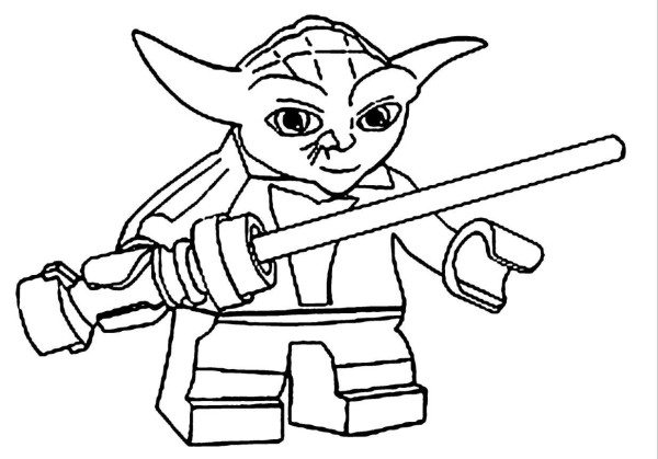 600x419 Lego Star Wars Yoda Coloring Pages