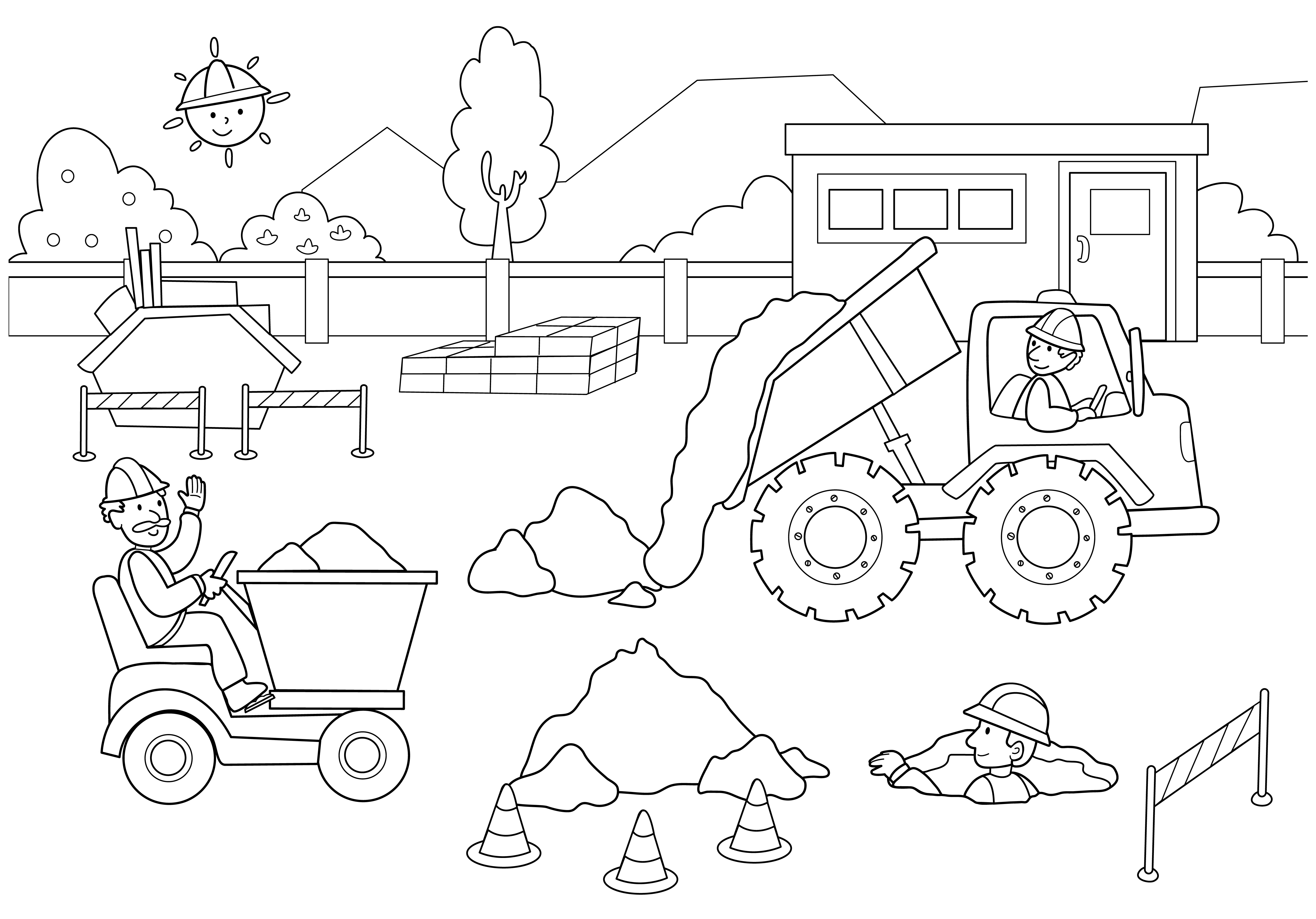 5025x3508 Construction Coloring Pages Worker Page Girl Free Sheets Dezhoufs
