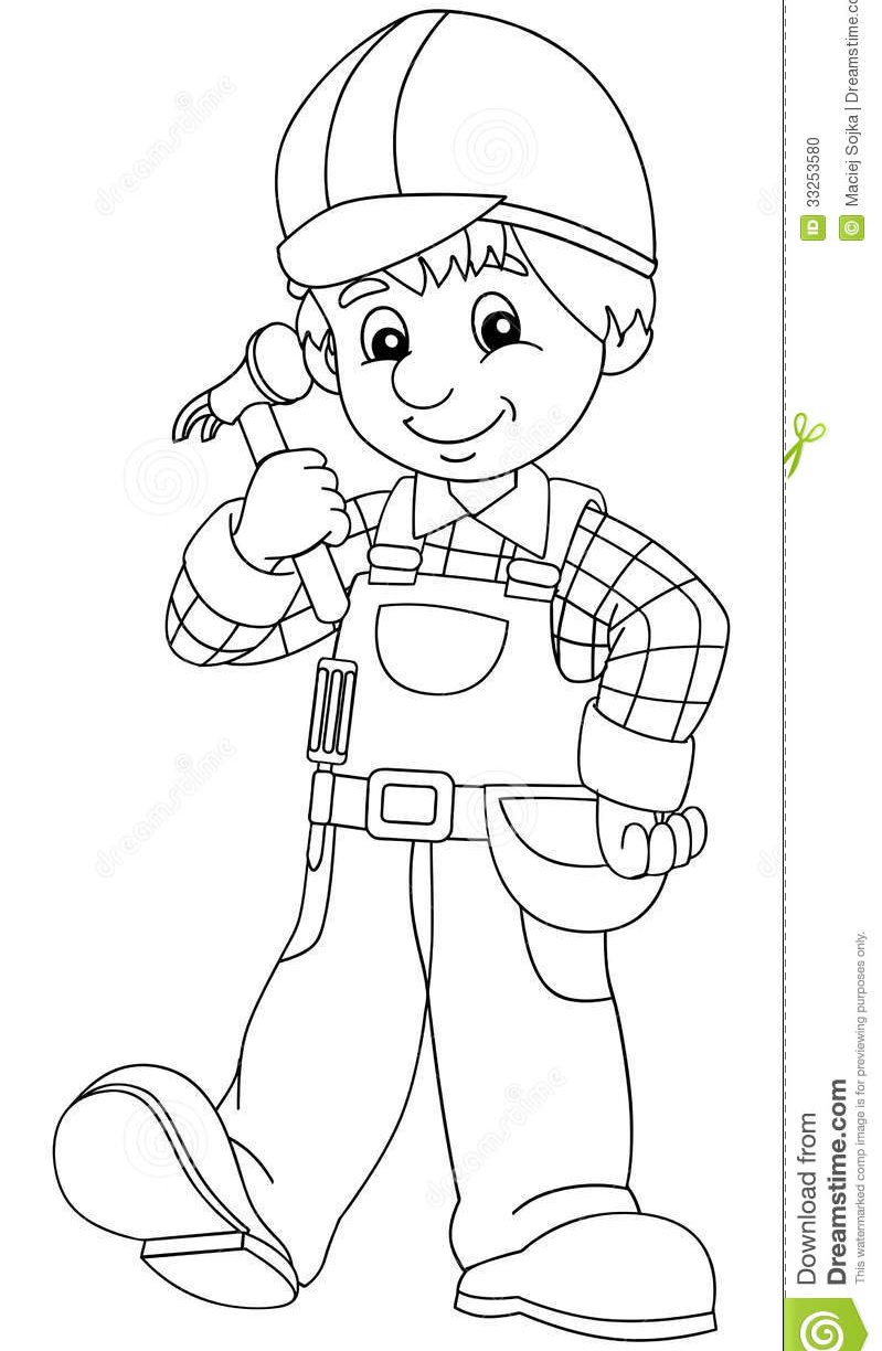 799x1224 Construction Worker Coloring Pages To Download Free Printable Kids