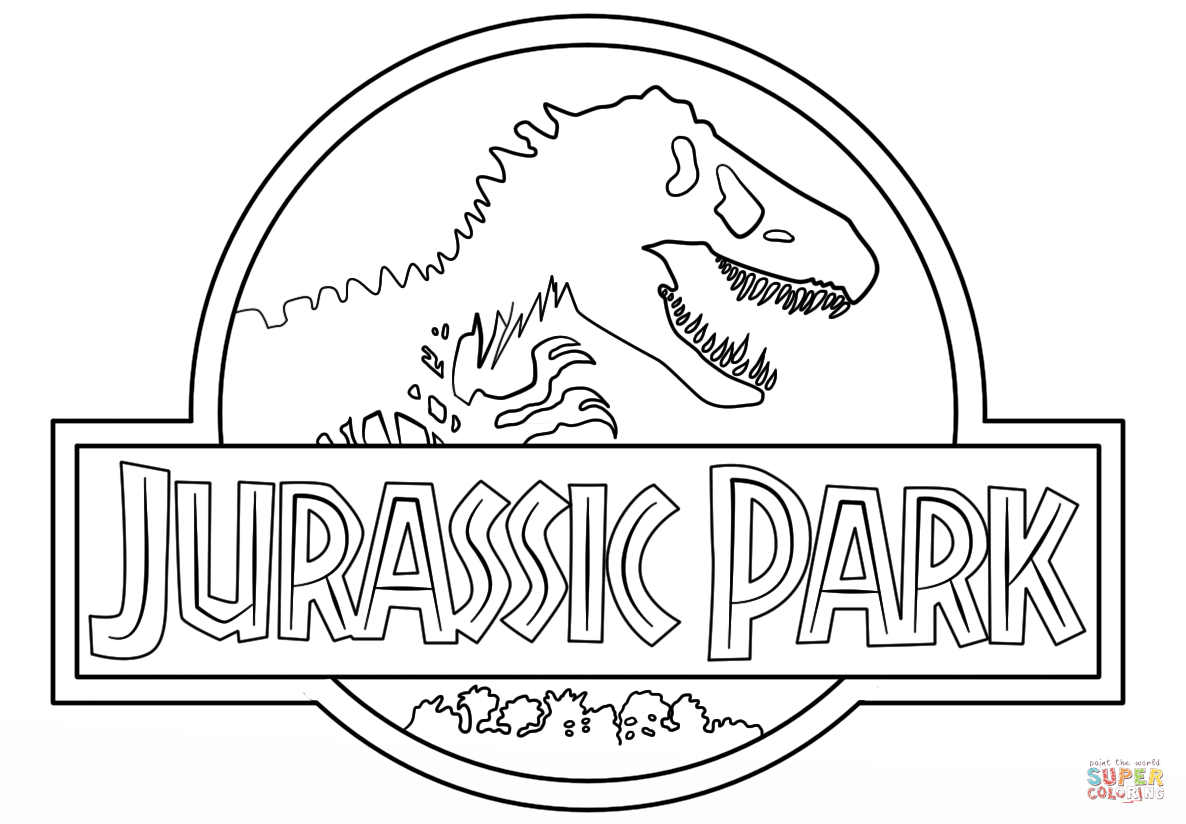 1186x824 Jurassic Park Logo Coloring Page On Pages