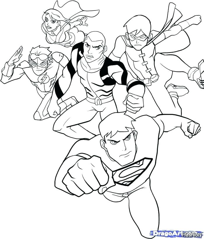 700x821 The Justice League Coloring Pages Young Justice League Coloring