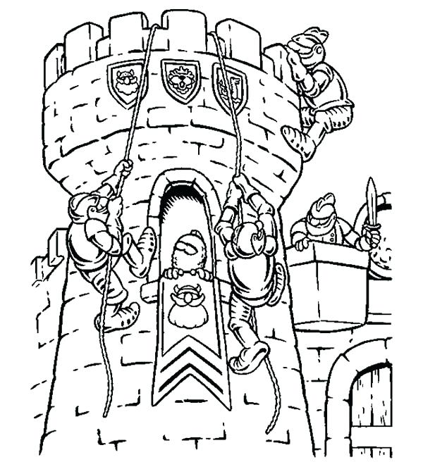 600x656 Lego Knights Coloring Pages Knights Climb Watching Tower Coloring