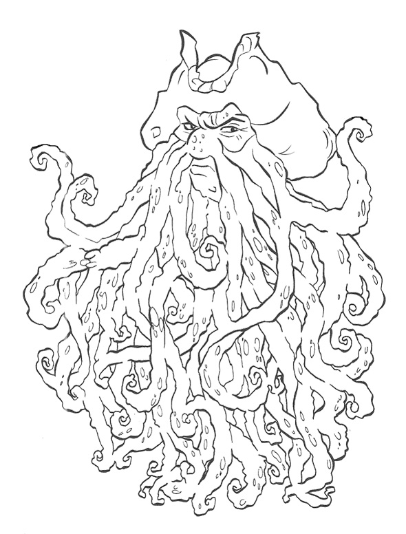 590x776 Davy Jones Pirates Of The Caribbean Coloring Page For Kids Kids