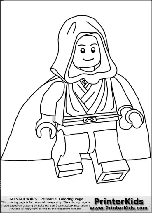 521x730 Skywalker From Lego Star Wars Kids Printable Coloring Page Fun
