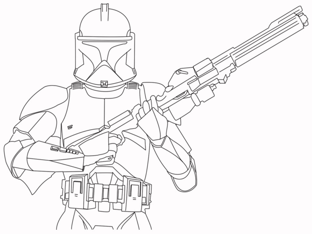 1024x768 Star Wars Coloring Pages Free Printable Throughout Clone