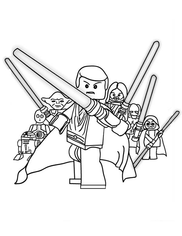 600x776 The Star Wars Characters Lego Coloring Page