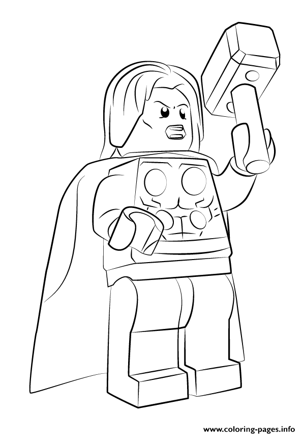 596x855 Lego Marvel Thor Avengers Coloring Pages Printable