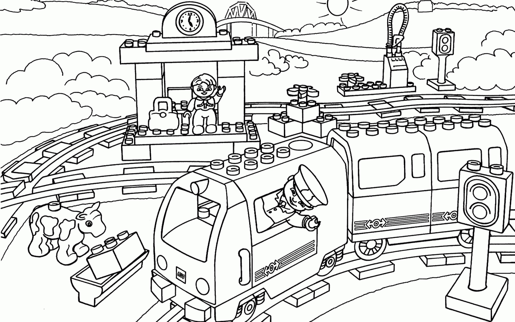 Lego Train Coloring Pages